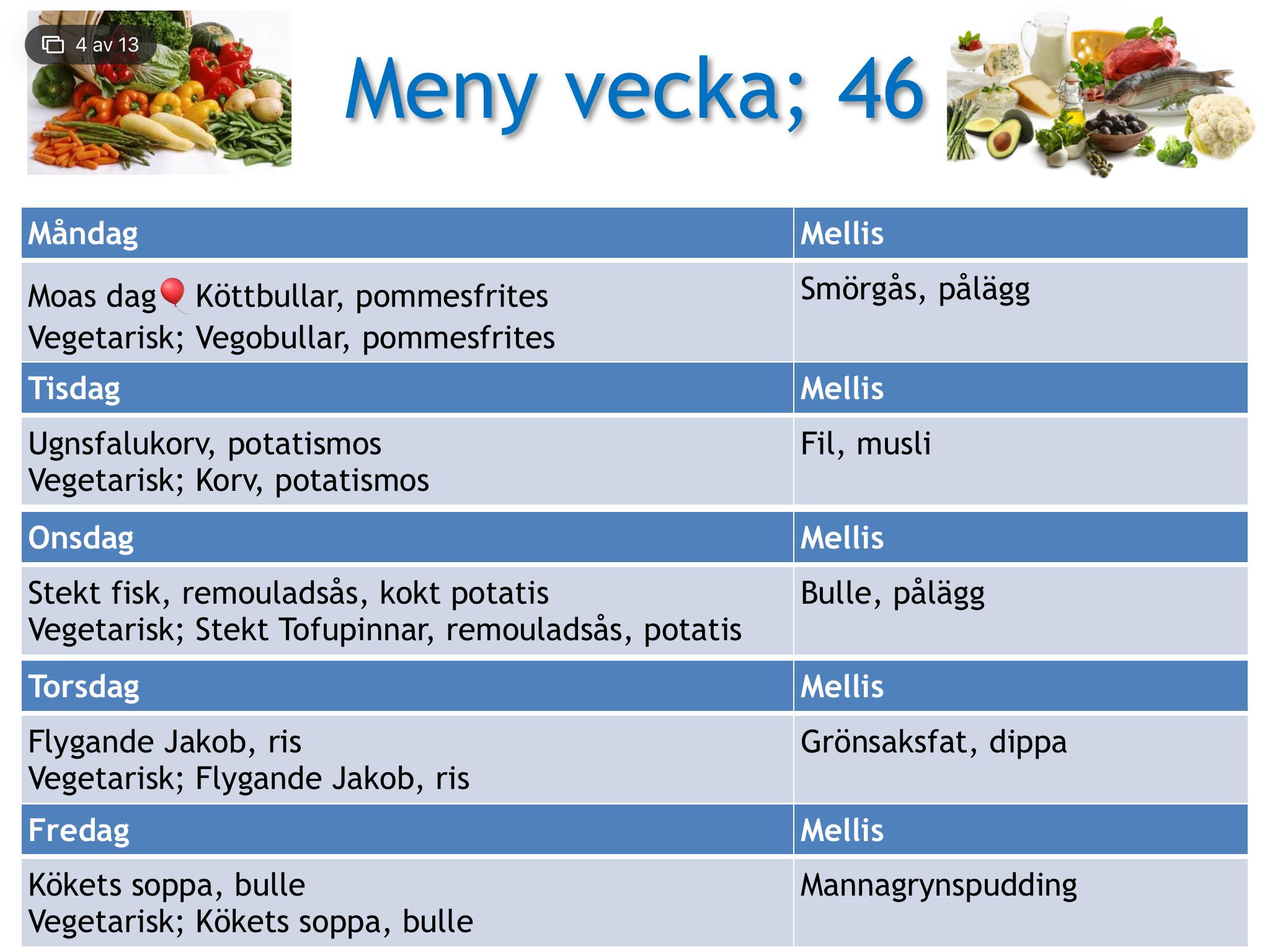 vegetarisk meny vecka